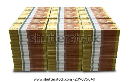 A pile of stacked wads of south african rand banknotes on an isolated background - stock photo