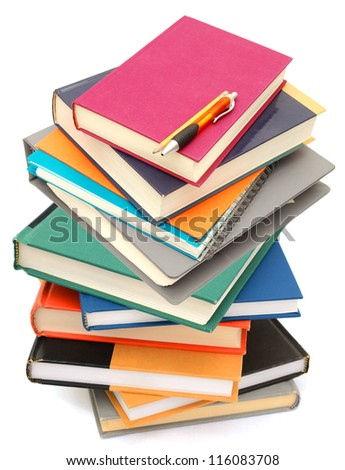 A pile of studying books class