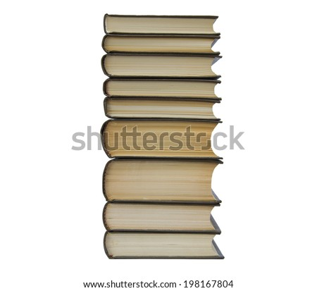 A pile of the books isolated on white background