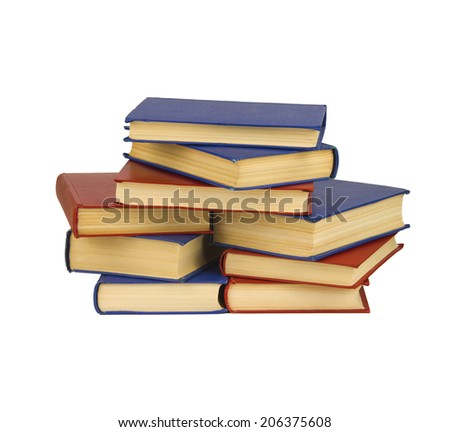 A pile of the books isolated on white background - stock photo