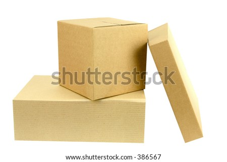 A pile of three closed boxes from the front with workpath - stock photo