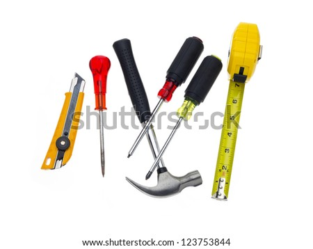 A pile of tools on a white background