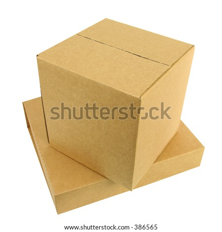 A pile of two closed boxes with workpath - stock photo