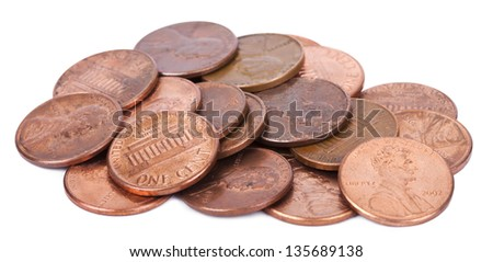 A pile of 1 US cent (penny) coins isolated on white background. This is the version of the penny that was produced between the years 1959-2008, depicting the Lincoln memorial. - stock photo