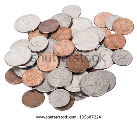 A pile of various American coins (quarters, dimes, nickels, pennies) isolated on white background. - stock photo