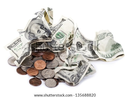 A pile of various USA coins - pennies, quarters, dimes, nickels, along with four crumpled 100 US$ money notes. White background. - stock photo