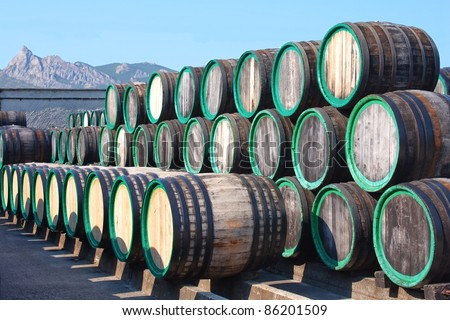 A pile of wine barrels on madeira wine-yard - stock photo