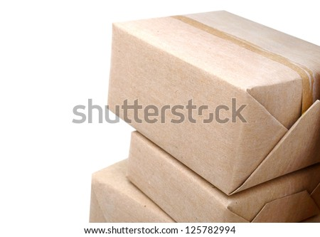 A pile of wrapping crate boxes - stock photo