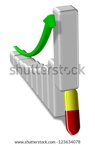 A pill supporting 3d upward chart and an arrow / Pharmaceuticals sale - stock photo