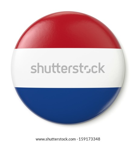 A pin button with the flag of the Kingdom of the Netherlands. Isolated on white background with clipping path.