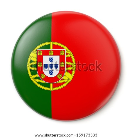 A pin button with the flag of the Portuguese Republic. Isolated on white background with clipping path.