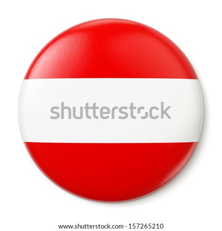 A pin button with the flag of the Republic of Austria. Isolated on white background with clipping path.