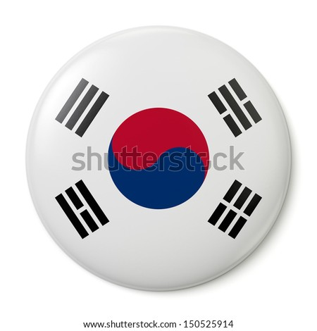 A pin button with the flag of the Republic of Korea. Isolated on white background with clipping path. - stock photo