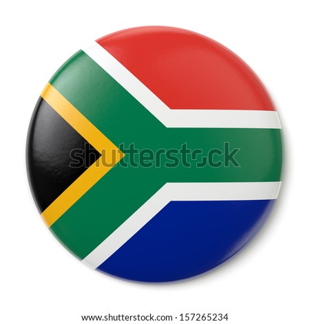 A pin button with the flag of the Republic of South Africa. Isolated on white background with clipping path. - stock photo