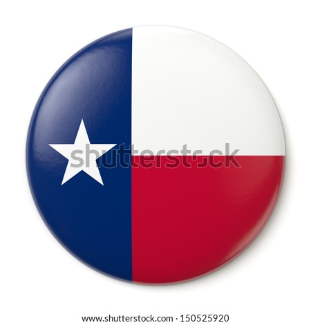 A pin button with the flag of the States of Texas. Isolated on white background with clipping path. - stock photo