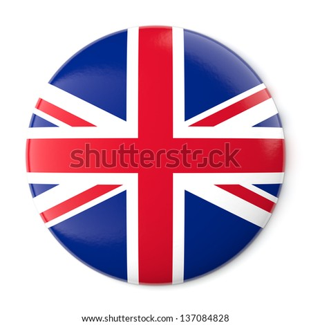 A pin button with the flag of the United Kingdom. Isolated on white background with clipping path.