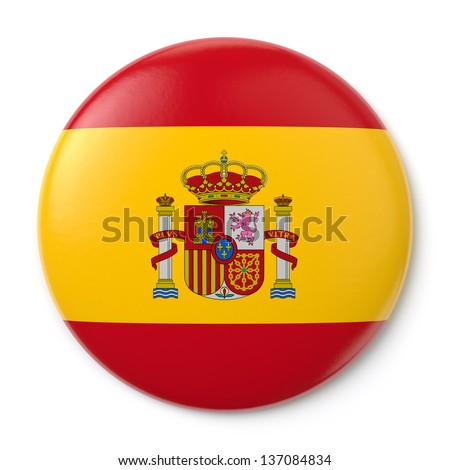 A pin button with the Spanish flag. Isolated on white background with clipping path. - stock photo