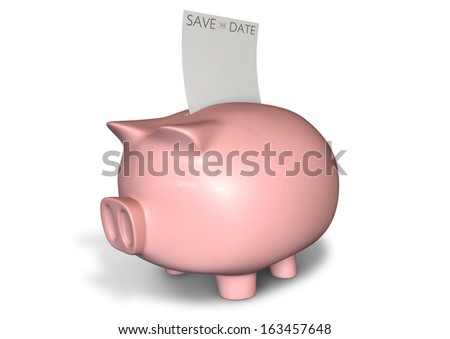 A pink ceramic piggy bank on an isolated white background with a blank save the date note going into its slot - stock photo