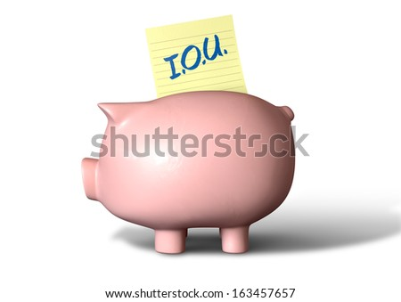 A pink ceramic piggy bank on an isolated white background with a yellow IOU note going into its slot