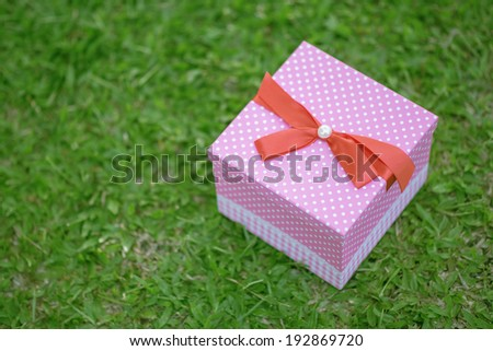 A pink gift box on grass