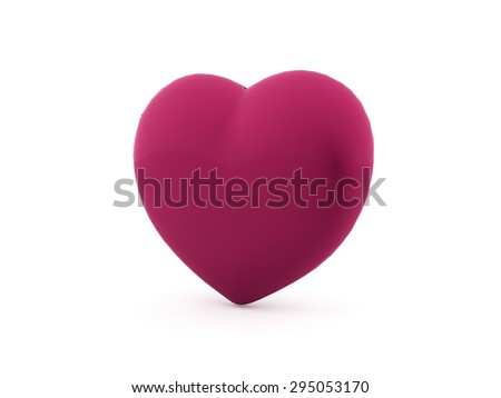 A pink heart isolated on white background - stock photo