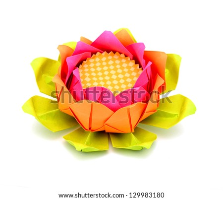 A pink lotus paper on white - stock photo