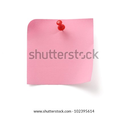 A pink note - stock photo