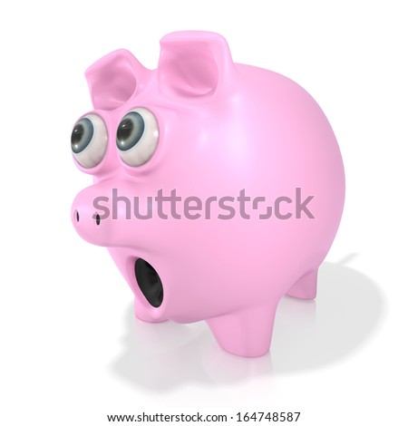 A pink piggy bank eyes popping out and shocked looking at something isolated on a white background