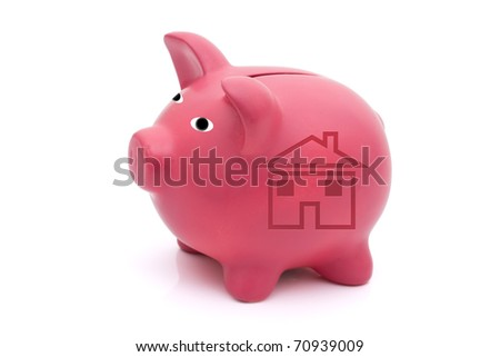 A pink piggy bank with a house on a white background, Mortgage Payments
