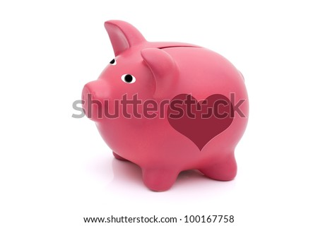 A pink piggy bank with heart shape on it isolated on white, Love saving for your future - stock photo
