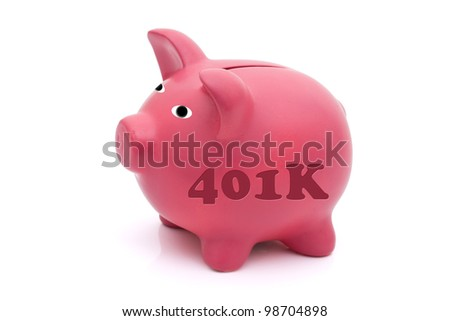 A pink piggy bank with 401k n it isolated on white, Saving for your retirement - stock photo