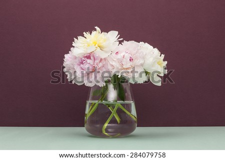 A pink(red) and white(yellow) peony flower with glass vase on the emerald green paper bottom, brown(wine, chocolate) color background at the studio.