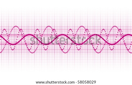 a pink sound wave on white background - stock photo