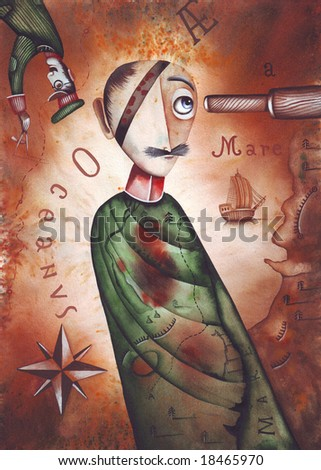 A pirate. Illustration by Eugene Ivanov. - stock photo