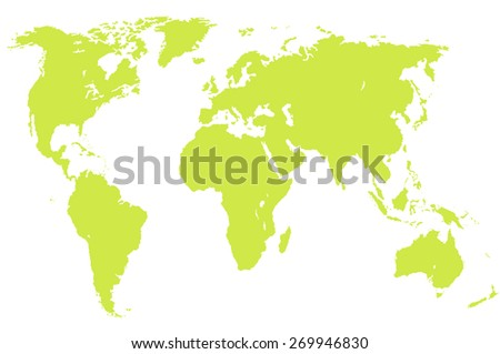 a pistachio green map of the world, isolated, clipping path - stock photo