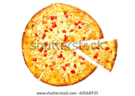 A pizza with a slice removed. Isolated on white. - stock photo