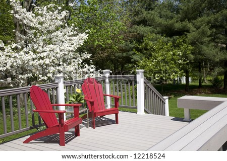a place to relax on the deck - stock photo