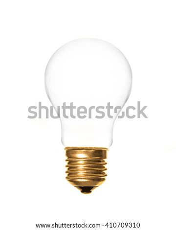 a plain light bulb on a white background, which can be filled with text - stock photo