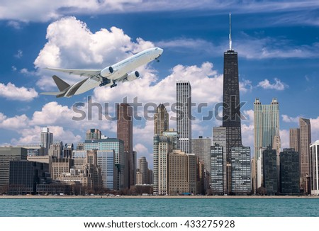 a plane and chicago city,chicago  and transportation concepts - stock photo