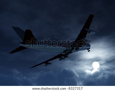 A plane flying high in the nighttime sky with an illuminated moon.