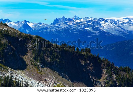 A plane flying over Blackcomb Mountains and pine trees. More with keyword group14l  - stock photo