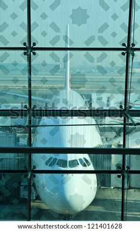 a380 plane in dubai airport - stock photo
