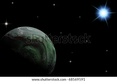 A planet is earth on star sky - stock photo