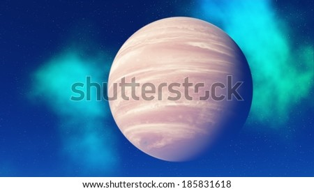 A planet similar to Jupiter against blue sky and nebula - stock photo