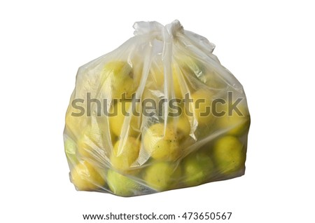 A plastic bag of yellow lemons on white background