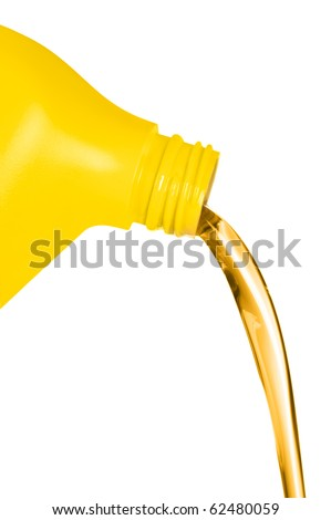 A plastic container of engine oil pouring in front of a white background.  For use as a design element or automobile maintenance inference.