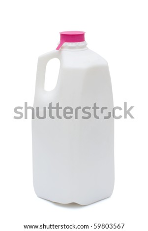 A plastic milk container isolated on white, healthy food