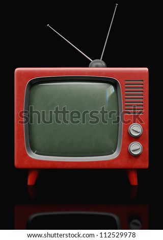 A Plastic retro Television on a black background - stock photo