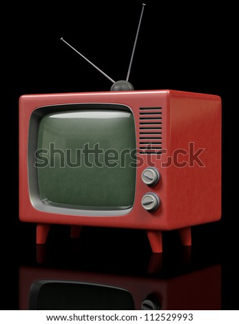 A Plastic retro Television on a black background