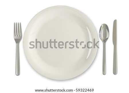 A plate and eating utensils